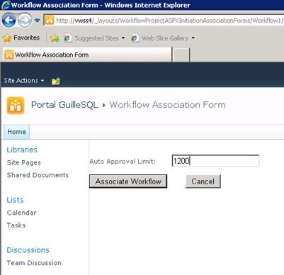 No nos complicaremos mucho, pero al menos que podamos ver cómo quedan los formularios que acabamos de desarrollar. Pulsaremos F5 en Visual Studio para compilar, desplegar y ejecutar nuestro pequeño desarrollo. Una vez arrancado Internet Explorer, navegaremos hasta la librería Shared Documents y la asociaremos el Workflow que acabamos de crear, lo cual, nos mostrará nuestro formulario de asociación.