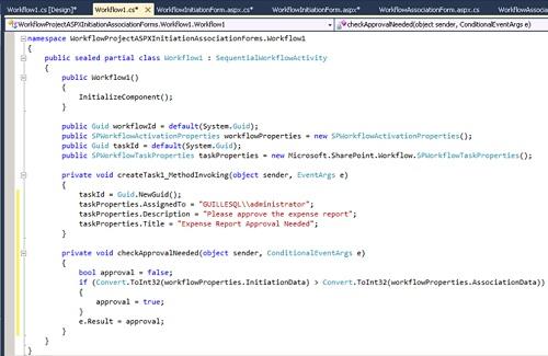 Para continuar, seleccionaremos la opción Generate Handlers del menú contextual de la actividad createTask1. Escribiremos el código fuente del evento MethodInvoking y también escribiremos el método checkApprovalNeeded. Fíjese que el método checkApprovalNeeded accede a los valores introducidos en ambos formularios (Iniciación y Asociación) a través del objeto workflowProperties.