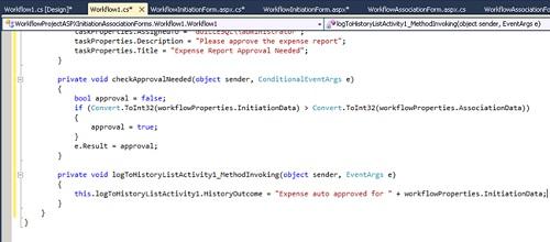 Ahora seleccionaremos la opción Generate Handlers del menú contextual de la actividad LogToHistoryListActivity1 y escribiremos el código fuente del evento MethodInvoking.