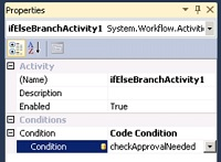 En las Propiedades de la actividad IfElseBranchActivity, deberemos configurar la propiedad Condition con el valor Code Condition y especificar como condición el método checkApprovalNeeded, tal y como se muestra en la siguiente pantalla capturada.