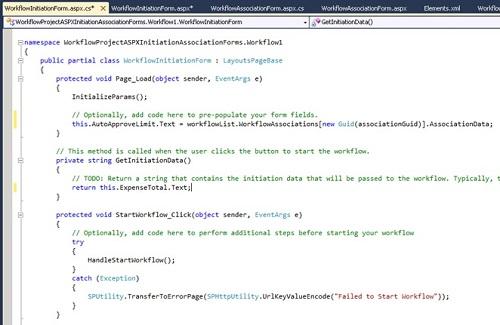 Ahora mostraremos el código fuente de la Página ASPX que acabamos de crear, es decir, el código Behind. En nuestro caso, nos limitaremos a codificar el método GetInitiationData y el evento PageLoad, para que se devuelva la información que deseamos del formulario ASPX al Workflow (ojo, que sólo es un String) y para inicializar los Controles de nuestro formulario ASPX. Téngase en cuenta, que en nuestro ejemplo vamos inicializar un campo del formulario de Inicialización en función de los datos introducidos en el formulario de Asociación.