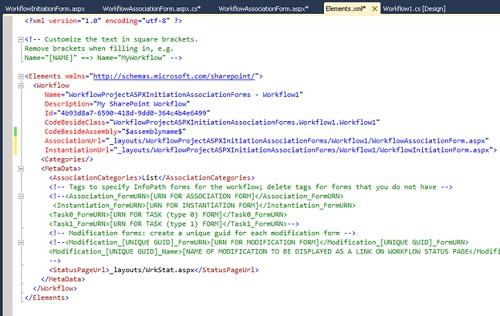 Si nos fijamos de nuevo en el fichero Elements.xml del Workflow, podremos observar que se ha añadido el atributo InstantiationUrl al tag Workflow, conforme al formulario ASPX que acabamos de añadir.