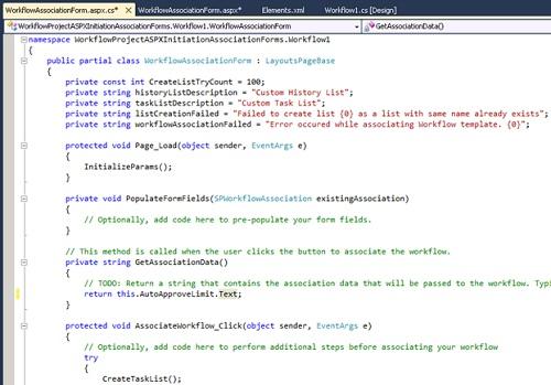 Ahora mostraremos el código fuente de la Página ASPX que acabamos de crear, es decir, el código Behind. En nuestro caso, nos limitaremos a codificar el método GetAssociationData, para que devuelva la información que deseamos desde el formulario ASPX al Workflow (ojo, que sólo es un String).