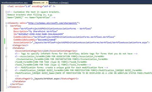 Si nos fijamos en el fichero Elements.xml del Workflow, podremos observar que se ha añadido el atributo AssociationUrl al tag Workflow, conforme al formulario ASPX que acabamos de añadir.