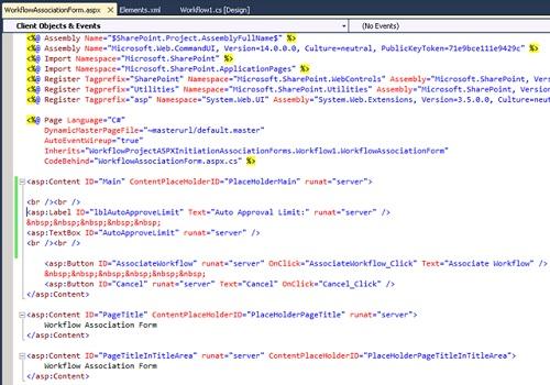 A continuación deberemos editar la Página ASPX que acabamos de crear, para escribir el código HTML deseado dentro del contenedor PlaceHolderMain, tal y como se muestra en la siguiente pantalla capturada.