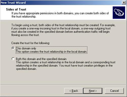 En el diálogo Sides of Trust, deberemos especificar si deseamos crear la Relación de Confianza sobre el dominio actual (This domain only), o sobre ambos dominios (Both this domain and the specified domain)