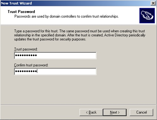 En la pantalla Trust Password, deberemos especificar la contraseña deseada para nuestra relación de confianza (Trust)