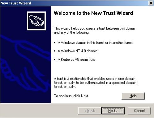 Se abrirá el asistente para la creación de una nueva Relación de Confianza (New Trust Wizard). Un detalle importante, es que si nuestro Bosque no está en modo funcional Windows Server 2003, se mostrará una ventana como la siguiente, en la que no aparece ninguna opción para crear una Relación de Confianza de tipo Bosque (Forest Trust)