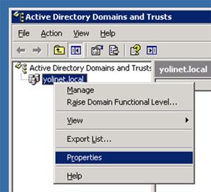 Abrimos la herramienta administrativa Active Directory Domain and Trust, y mostramos el diálogo de propiedades del dominio deseado.