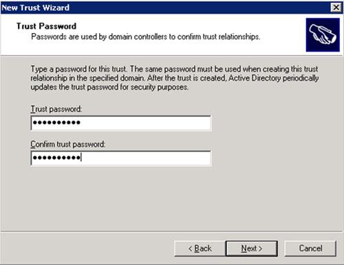 En la pantalla Trust Password, deberemos especificar la contraseña deseada para nuestra relación de confianza (Trust). Click Next para continuar.