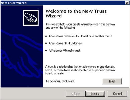 En la pantalla de bienvenida del asistente de creación de una nueva relación de confianza (Trust), click Next para continuar.