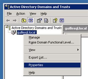 Abrimos la herramienta administrativa Active Directory Domains and Trusts, y mostramos el diálogo de propiedades del dominio deseado.