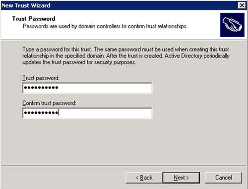 En la pantalla Trust Password, deberemos especificar la contraseña deseada para nuestra relación de confianza (Trust). Debe ser la misma contraseña que utilizamos al crear la relación de confianza en la Extranet. Click Next para continuar.