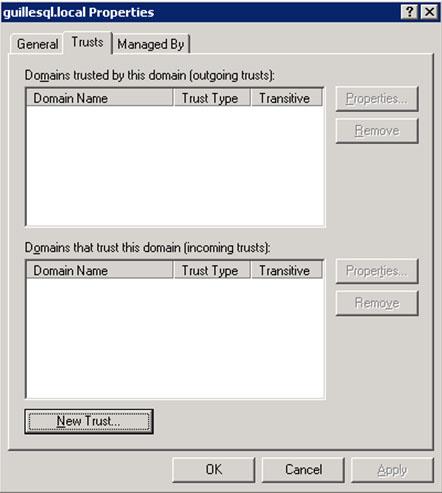 Seleccionamos la pestaña Trusts, y seguidamente click en New Trust.