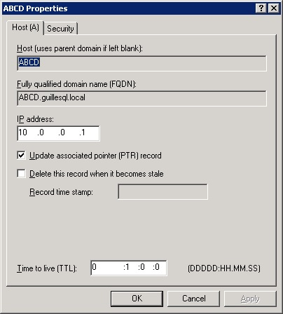 Los registros A los hemos creado con el TTL por defecto de 1 minuto