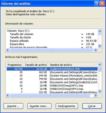 Por mucho que intento Desfragmentar el disco con la herramienta de Windows XP (Desfragmentador de disco), no consigo reducir el número de fragmentos del fichero, vamos, que no consigo desfragmentar el fichero grande