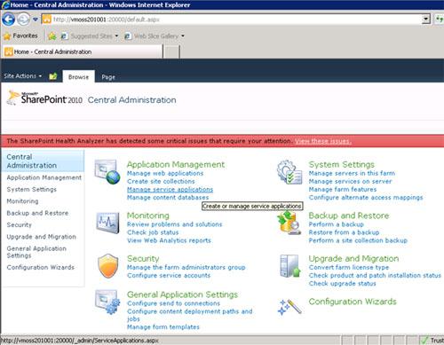Para cambiar la configuración de quién puede utilizar las opciones sociales (Etiquetas Sociales, Notas y Rattings), deberemos entrar en la Consola de Administración Central, y seleccionaremos la opción Manage service applications de la sección Application Management