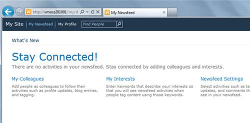 Sin embargo, si accedemos a My Site, podremos observar que ya no aparece el enlace My Content a la derecha de My Newsfeed. Objetivo conseguido.