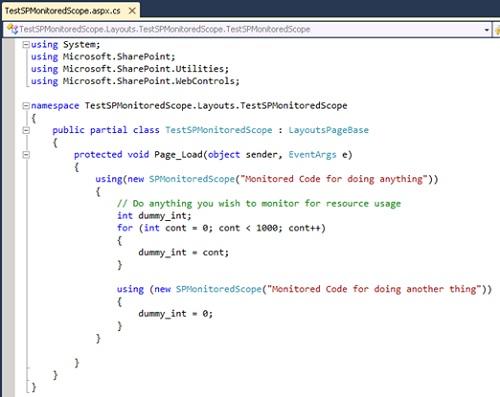 Adicionalmente, si lo deseamos podemos utilizar en nuestro código la clase SPMonitoredScope, la cual nos permite envolver un trozo de código que deseamos monitorizar de forma explícita