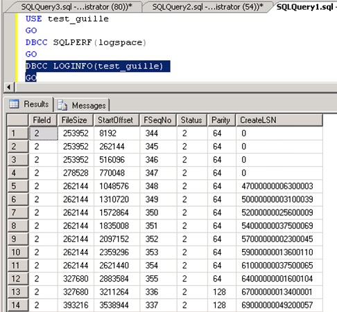 Sin embargo, para eliminar un fichero de LOG no necesitamos ejecutar previamente un DBCC SHRINKFILE EMPTYFILE para vaciar el fichero. En lugar de esto, en primer lugar deberemos ejecutar el comando DBCC LOGINFO para comprobar qué ficheros de LOG están en uso, y cuales no