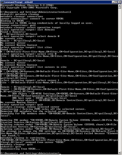 Eliminar manualmente un Controlador de Dominio con NTDSUTIL
