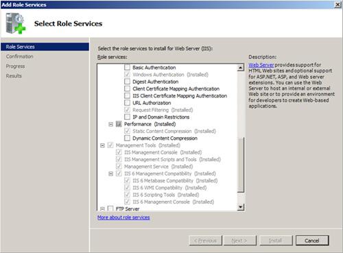 Role Services del IIS para poder instalar App-V 4.5 SP1