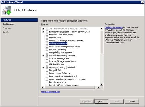 Este problema es típico en versiones Server de Windows, de tal modo que la solución pasa por agregar la Característica (Feature) Desktop Experience en nuestro Sistema Operativo, que es el modo de hacer que nuestro Windows Server 2008 R2 sea más Windows 7