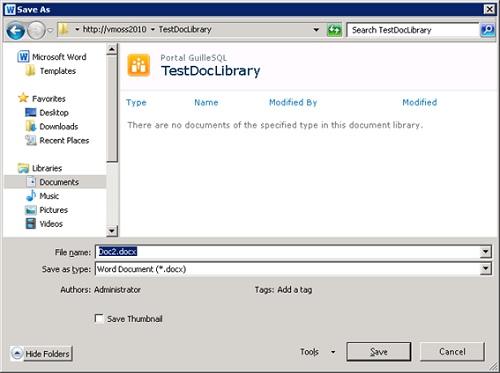 Realizado esto, si ahora intentamos guardar un nuevo documento de Word 2010 en SharePoint 2010, en esta ocasión al introducir la URL en el campo File Name y pulsar Enter, no se mostrará ningún error, y conseguiremos acceder a nuestra Biblioteca de Documentos para guardar nuestro documento.