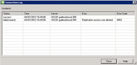 En nuestro caso de ejemplo, nos encontramos con el  siguiente mensaje de error: Replication access was denied (Error Code 8453)