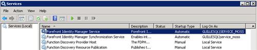 Si abrimos la consola de Servicios, podremos observar que existen dos servicios de Windows relacionados con Forefront Indentity Manager 2010: el Forefront Identity Manager Service y el Forefront Identity Manager Synchronization Service. Es posible que estos servicios no estén iniciados (como se muestra en la siguiente pantalla capturada), en cuyo caso deberemos arrancarlos manualmente
