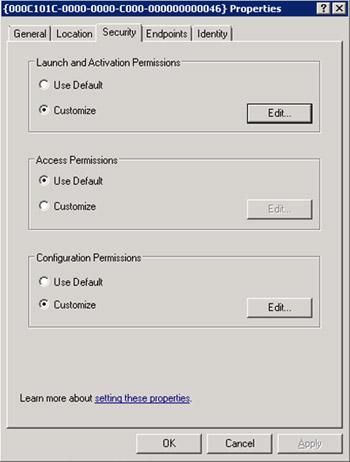 En la pestaña Security, seleccionaremos la opción Customize de la sección Launch and Activation Permissions, y click Edit