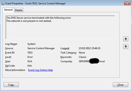En una instalación limpia de un Windows Server 2008 R2, que ejecutaba Directorio Activo y DNS, resultaba que el servicio DNS Server no era capaz de arrancar durante el inicio de Windows, produciéndose el error  The network is not present or not started (Event ID 7023), aunque posteriormente se podía iniciar manualmente sin ningún problema