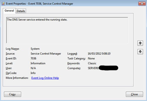 Reinicié el servidor, y voalá, ahora ya funciona todo OK. El servicio DNS Server es capaz de arrancar correctamente al inicio de Windows