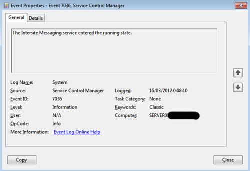 Igualmente, el servicio Intersite Messaging también es capaz de arrancar correctamente durante el inicio de Windows