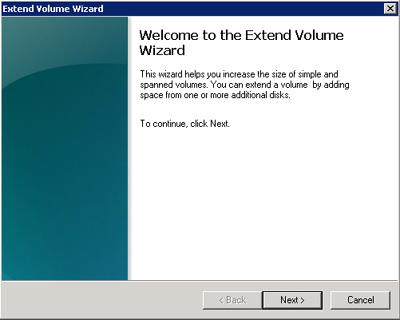 Pantalla de bienvenida del asistente para extender un disco en el Disk Management