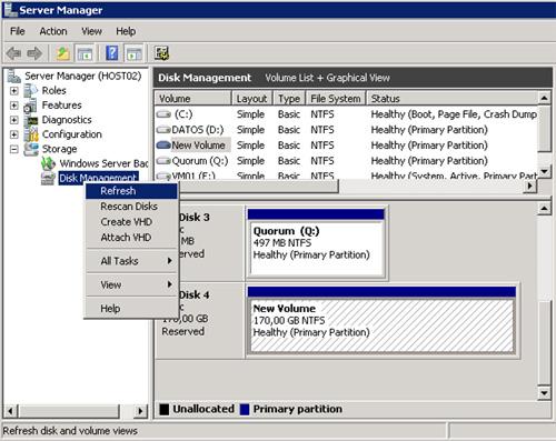 Refresh de los discos en la herramienta administrativa Disk Management