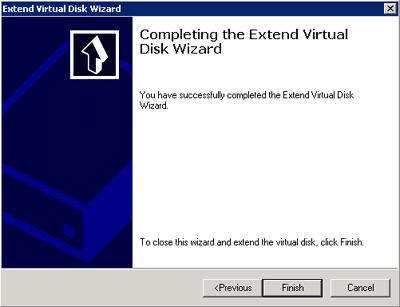 Finalización del asistente para extender un disco virtual (LUN) de Microsoft iSCSI Software Target