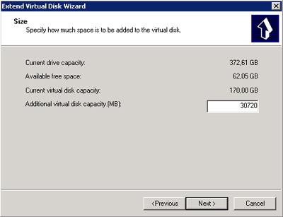 En la pantalla Extend Virtual Disk Wizard del Microsoft iSCSI Software Target, especificaremos el tamaño que deseamos añadir