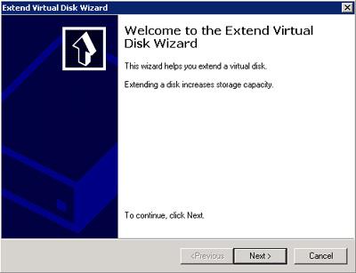 Pantalla de bienvenida del asistente para extender un disco (LUN) en Microsoft iSCSI Software Target