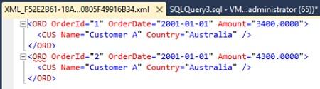 Ejemplo de consulta SQL con la cláusula FOR XML AUTO