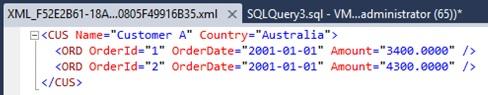 Ejemplo de consulta SQL con la cláusula FOR XML AUTO cambiando el orden de las columnas