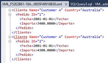 Ejemplo de consulta SQL con la cláusula FOR XML PATH sobrescribiendo el elemento ROW