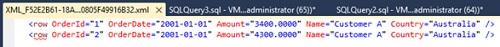Ejemplo de consulta SQL con la cláusula FOR XML RAW