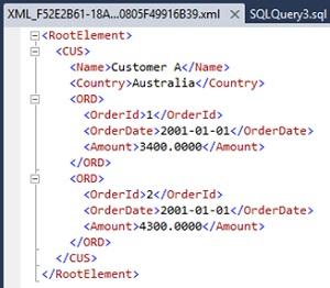 Ejemplo de consulta SQL con la cláusula FOR XML y la opción ROOT