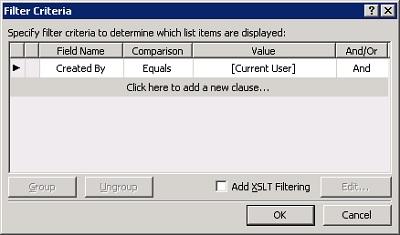 En este caso de ejemplo, utilizando el DataFormWebPart (DFWP) en SharePoint 2007, podemos filtrar un campo Person or Group por el Parámetro [Current User]