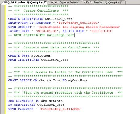 Ejemplo de utilización de ADD SIGNATURE BY CERTIFICATE
