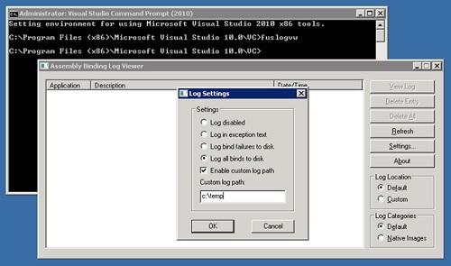 Fusion Log Viewver (FusLogVW), también conocida como Assembly Binder Log Viewer, viene con Visual Studio, y se trata de una simple interfaz gráfica, que nos permite configurar (habilitar/deshabilitar, utilizando el botón de Settings) el Fusion Log, así como visualizar rápidamente los Logs generados