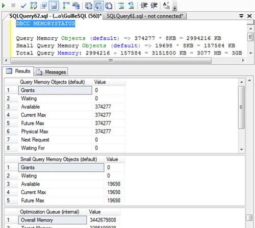 Ejemplo realizado sobre una máquina con SQL Server 2008 R2 configurado con 4GB para el SQL, de los cuales, 3GB están dedicados a Memoria de Consulta (Query Memory o WorkSpace Memory)