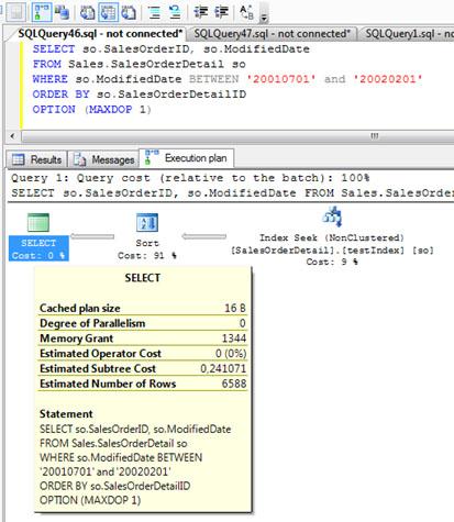 Si nos fijamos en el Plan de Ejecución, en la cajita correspondiente a la SELECT, podemos ver varios datos, entre los cuales está el valor de Memory Grant para la consulta que estamos ejecutando. En nuestro caso, un valor de Memory Grant de 1344. Creo que este valor se refiere a KB, aunque también he leído en algún otro Blog que se refiere a páginas de 8KB (lo que implicaría unos 10MB de RAM). El SORT afecta a 6588 filas de 23 Bytes, que suman unos 150KB, por lo que quiero pensar que el Memory Grant son 1344KB.