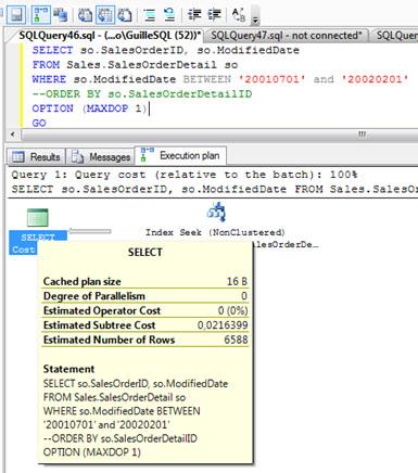 A continuación, se muestra el Plan de Ejecución de la Consulta SQL de ejemplo, omitiendo la cláusula ORDER BY, obteniendo el siguiente Plan de Ejecución, sin operación SORT y sin Memory Grant.